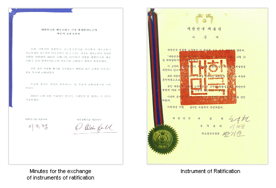 minutes for the exchange of instruments of ratification, instrument of ratification